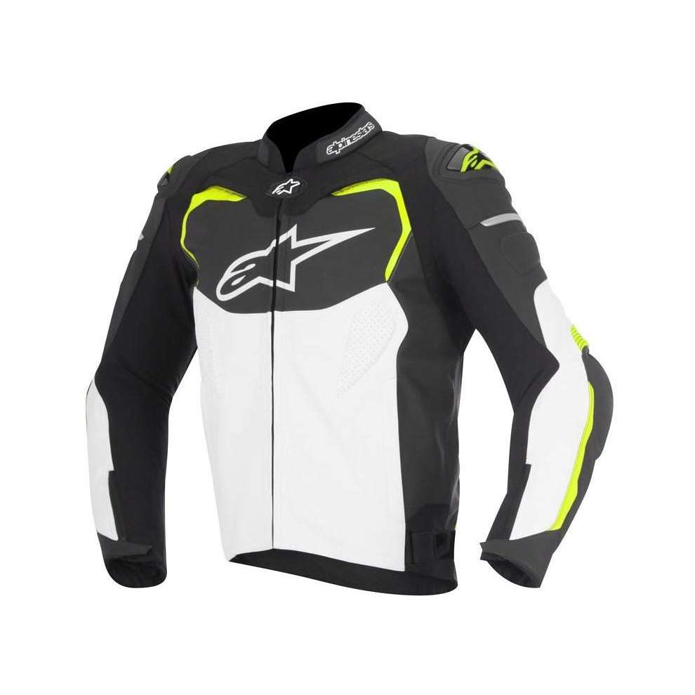 Gp Pro jacket en cuir  black-white-yellow fluo Alpinestars