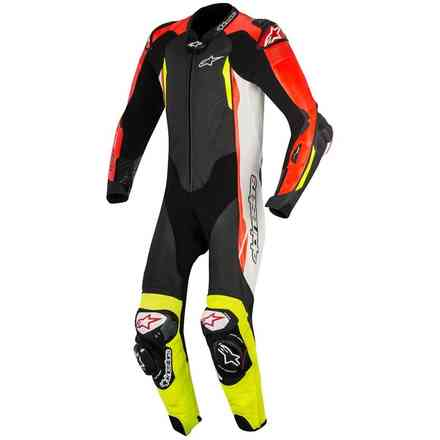 Gp Tech V2 Tech Air black white red yellow fluo Leather Suit  Alpinestars