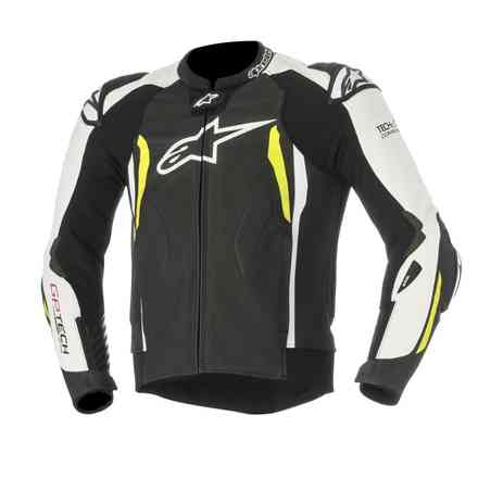 Gp Tech V2  Tech Air black white yellow fluo Leather Jacket Alpinestars