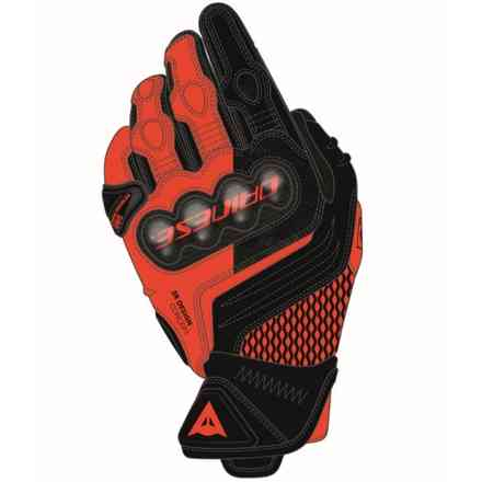 Guanti Carbon 3 Short nero-rosso fluo Dainese