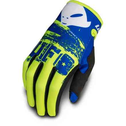 Guanti Cross Draft Giallo Fluo Blu Ufo