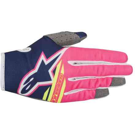Guanti cross Radar Flight 2018 Dark Blu rosa Fluo bianco Alpinestars