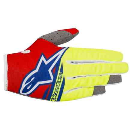 Guanti cross Radar Flight 2018 rosso giallo fluo blu Alpinestars