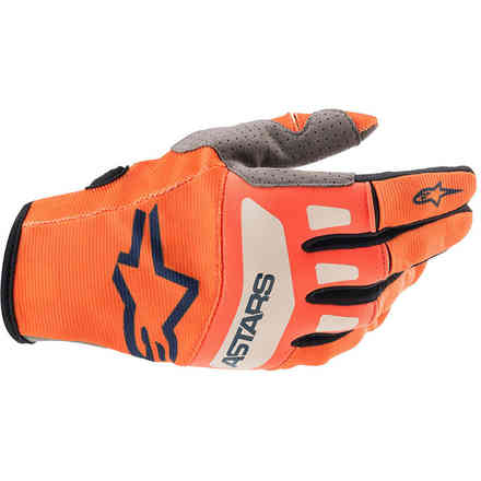 Guanti Cross Techstar Arancione Blu Scuro Bianco Alpinestars