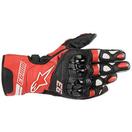 Guanti Twin Ring Leather Rosso Nero Bianco Alpinestars