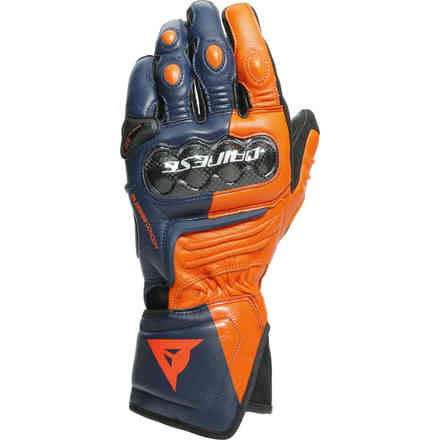 Handshue Carbon 3 Long Schwarz-Iris Flame Orange Rot fluo Dainese