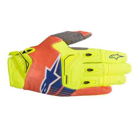 Handshuhe Techstar cross 2018 Gelb fluo Orange fluo Blau Alpinestars