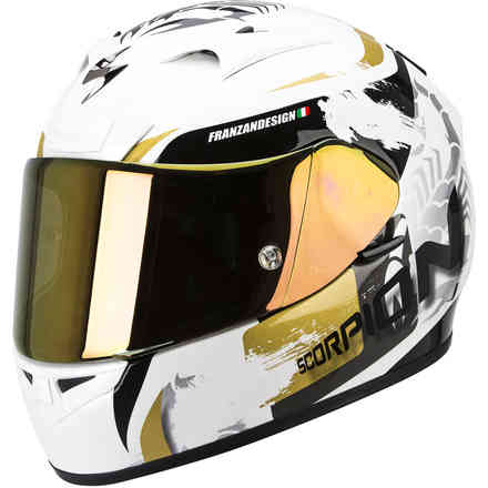 Helm Exo-710 Air Cerberus weiss-gold Scorpion