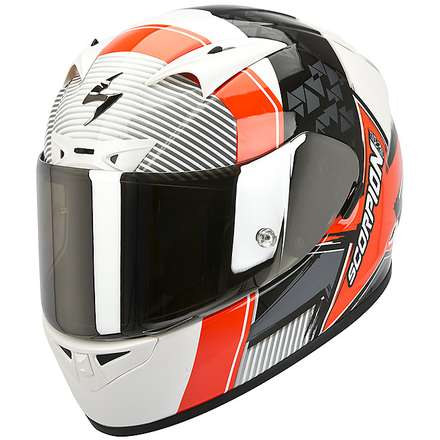 Helm Exo-710 Air Crystal Pearl White-Red Fluo Scorpion