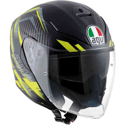 Helm K5 Jet Multi Urban Hunter Matt Schwarz Gelb Agv