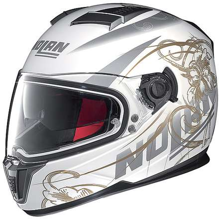 Helm N86 Bloom Metall Weiß N-Com Nolan