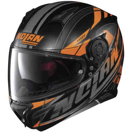 Helm N87 Fulmen N-Com Matt Schwarz Orange Nolan