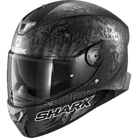 Helm Skwal 2.2 replica Switch riders 2  Anthrazitschwarzes mattes Silber Shark