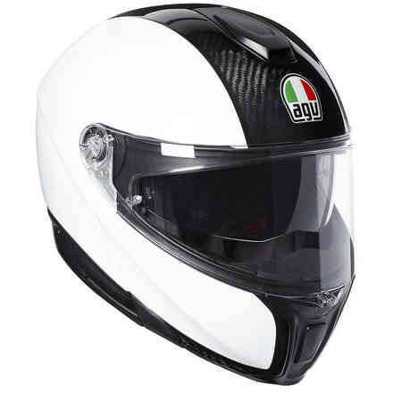 Helm Sportmodular Solid pinlock carbon Weiss Agv
