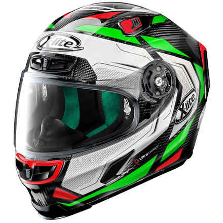 Helm X-803 Ultra Carbon Caesar Checa Carbon Grun Weiss X-lite