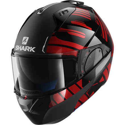 Helmet Evo-One 2 Lithion Dual Schwarz / Chrom Rot Shark