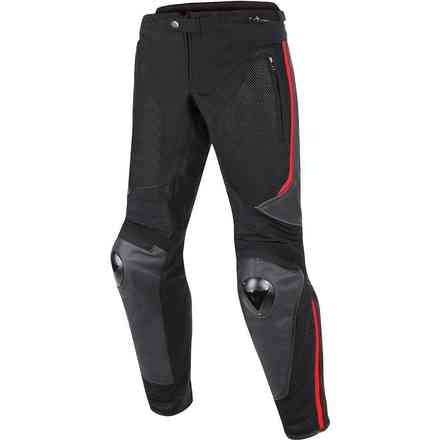 Hose Mig Leather-Tex Schwarz Rot Dainese