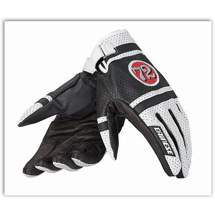 Hot Rodder White / Red-Lava / Black Gloves Dainese