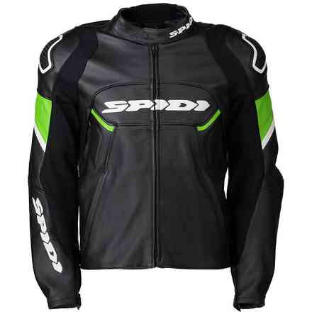 Ignite leather jacket black green Kawasaki Spidi