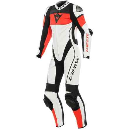 Imatra Lady 1pc leather suit Perforated White/Red fluo/Black Dainese