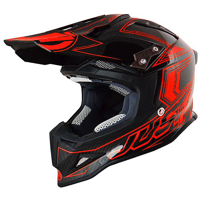 J12 Carbon  Red Fluo Helmet Just1