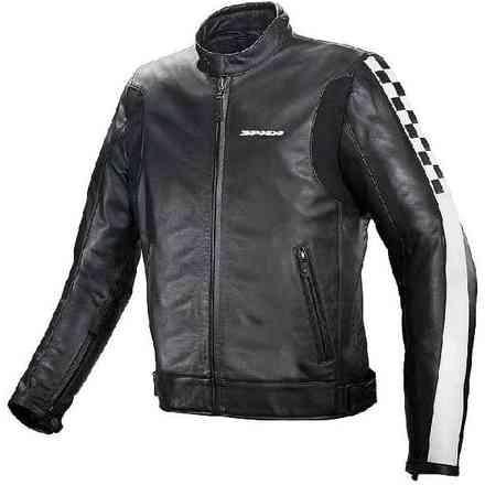 Jacket C-Flag Leather Black White Spidi