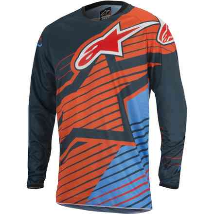 Jersey croix Racer Braap 2017 orange-bleu Alpinestars