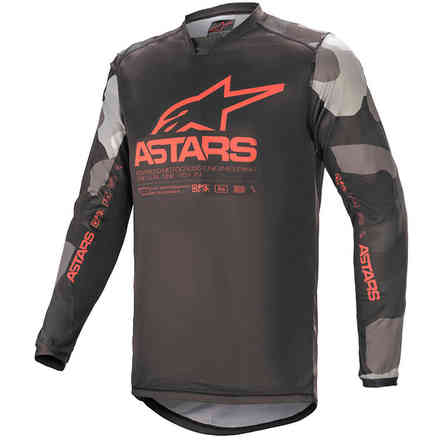 Jersey Cross Racer Tactical Gray Camo Red Fluo Alpinestars
