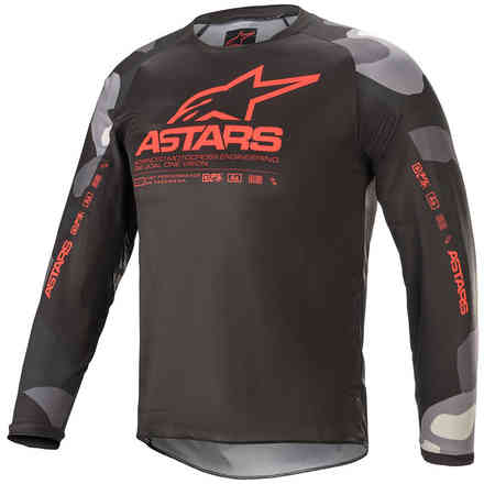 Jersey Cross Youth Racer Tactical Grey Camo Red Fluo Alpinestars
