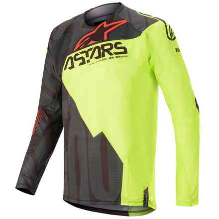 Jersey Techstar Factory Black Yellow Fluo Red Fluo X Alpinestars