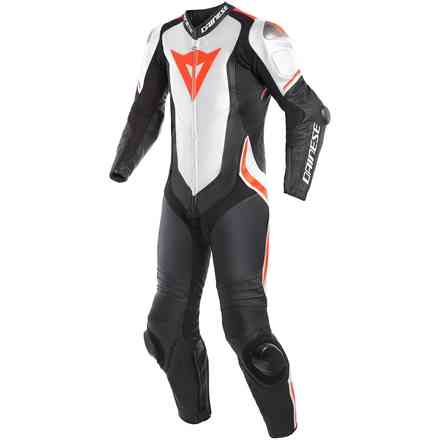 Laguna Seca 4 1pc leather suit black white fluo red Dainese
