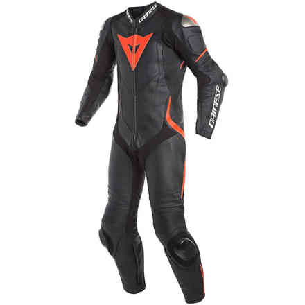 Laguna Seca 4 1pc leather suit Perforated Blak Blak Fluo-Red Dainese