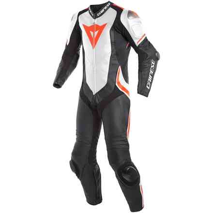 Laguna Seca 4 1pc Perforated leather suit black white red fluo Dainese