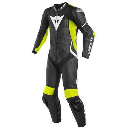 Laguna Seca 4 1pc Perforated leather suit black yellow fluo white Dainese