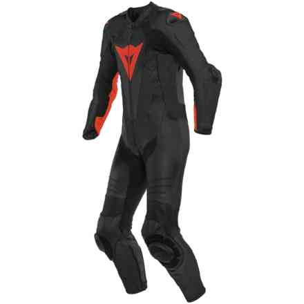Laguna Seca 5 1pc Perforated Leather Suit Black fluo red Dainese