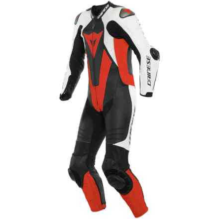 Laguna Seca 5 1pc Perforated Leather Suit Black white fluo red Dainese