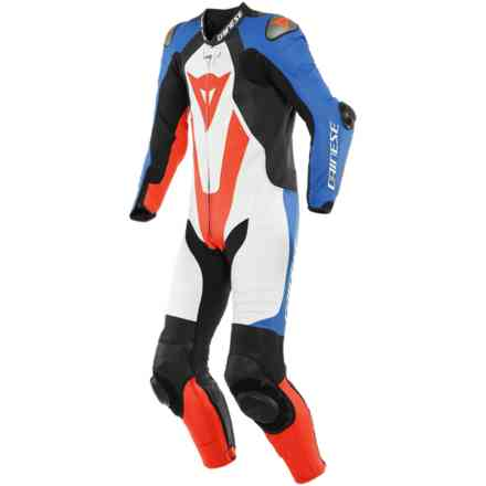 Laguna Seca 5 1pc Perforated Leather Suit White/Light Blue/Black/Red fluo Dainese