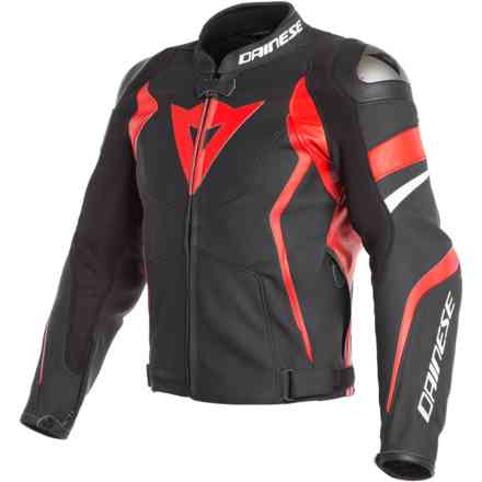 Leather Jacket Avro 4 Black Matt Lava Red White Dainese