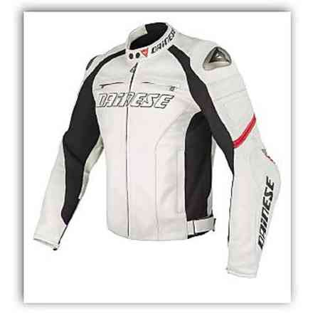 Leather jacket Racing C2 perforated white red Dainese