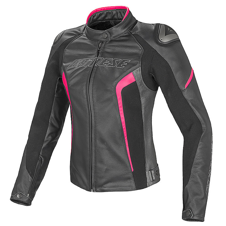 Leather jacket Racing D1  lady black-anthracite-fuxia Dainese