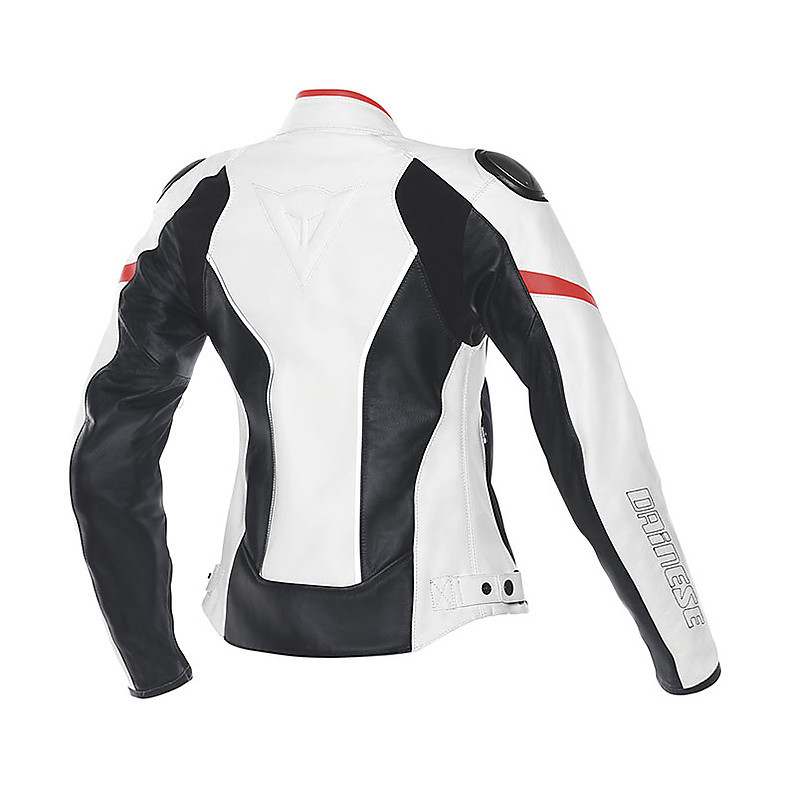 Leather jacket Racing D1 lady white-black-red fluo Dainese