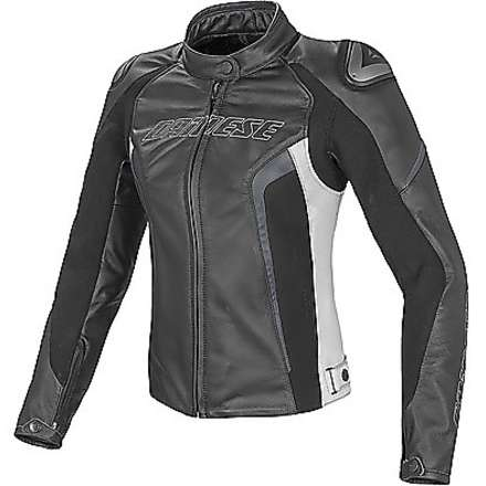 Leather jacket Racing D1  traforated lady black-white-anthracite Dainese