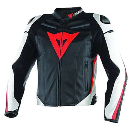 Leather jacket Super Fast Black-White-Red Fluo Dainese