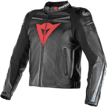 Leather jacket Super Fast traforated black-black-anthracite Dainese