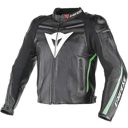 Leather jacket Super Fast traforated green Dainese