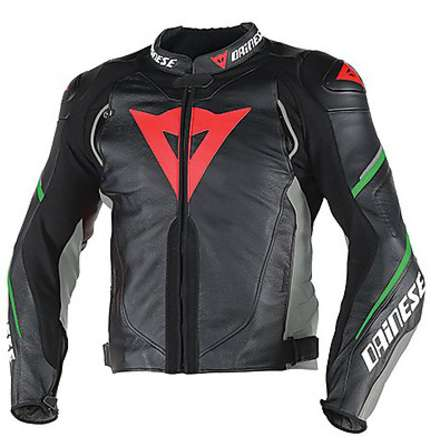 Leather jacket Super Speed D1 Black-Anthracite-Green Fluo Dainese