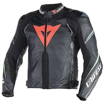 Leather jacket Super Speed D1 traforated Black-Anthracite-Green Fluo Dainese
