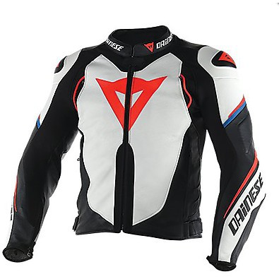 Leather jacket Super Speed D1 White-Black-Red-Fluo Dainese