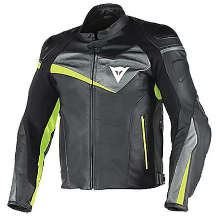 Leather jacket Veloster black-anthracite-yellow fluo Dainese