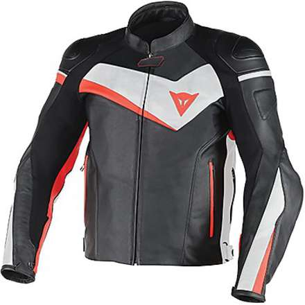 Leather jacket Veloster black-white-red fluo Dainese